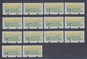 Deutschland ATM Mi.-Nr. 1.1 kpl. Satz 10-280 Pfg. unten geschlossene Löcher