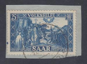 Saarland Volkshilfe 1950 Mi.-Nr. 302 gest. auf Briefstück, gepr. Geigle BPP