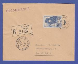 Frankreich Georges Guynemer Mi.-Nr. 474 als EF auf R-Brief ins Saarland, 1953
