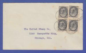 Kanada / Canada Brief mit 4 x  Mi.-Nr. 62A als MEF gel. v. LIVERPOOL n. Chicago