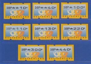 ATM Deutschland gelbe Posthörner mit DBP Mi.-Nr. 3.1 Satz 8 Werte 10-440 ** Nr.