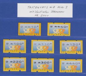 ATM Deutschland gelbe Posthörner Mi.-Nr. 3.2 Satz 8 Werte alle mit Z-Nr. 2000 !
