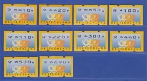 ATM Deutschland gelbe Posthörner Sielaff Mi.-Nr. 3.3 Satz 10 Werte 10-690 ** Nr.