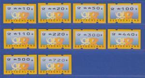 ATM Deutschland gelbe Posthörner Sielaff Mi.-Nr. 3.3 Satz 10 Werte 10-720 ** Nr.