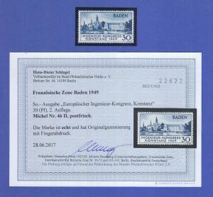 Französische Zone Konstanz II Mi.-Nr. 46 II ** geprüft mit Befund Schlegel