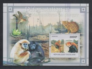 Togo 2011 Mi.-Nr. Block 578 ** Artensterben durch Entwaldung, Afrik. Wildhund