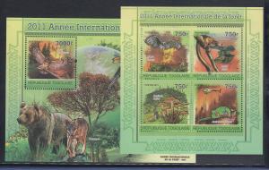 Togo 2011 Mi.-Nr. 3984-87 Kleinbogen und Block 607 ** Internat. Jahr der Wälder