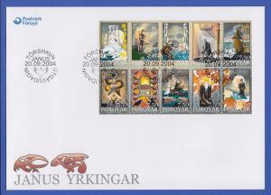 Färöer-Inseln 2004 Mi.-Nr. 501-10 Kleinbogen Janus Djurhuus auf FDC