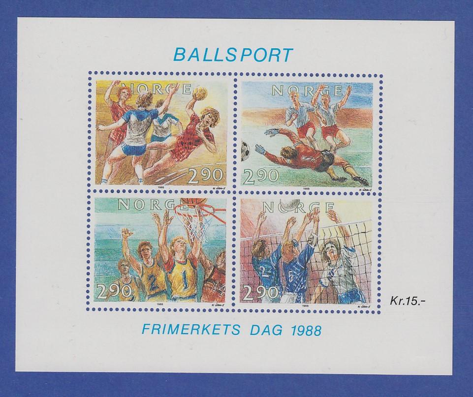 Norwegen 1988 Block 10  **  Tag der Briefmarke - Ballsport 0