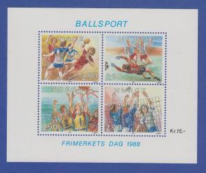 Norwegen 1988 Block 10  **  Tag der Briefmarke - Ballsport
