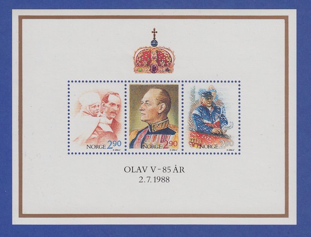 Norwegen 1988 Block 9  **   König Olaf V. 85. Geburtstag 0