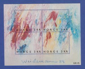 Norwegen 1989 Block 11  **   Gemälde Maler Jakob Weidemann