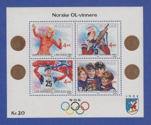 Norwegen 1989 Block 12 **   Olympische Winterspiele 1994  Olympiasieger