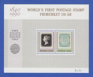 Norwegen 1990 Block 13 **   150 Jahre Bfriefmarken