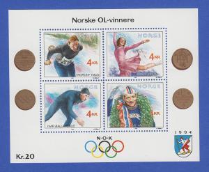 Norwegen 1990 Block 14 **   Olympische Winterspiele 1994 (II).
