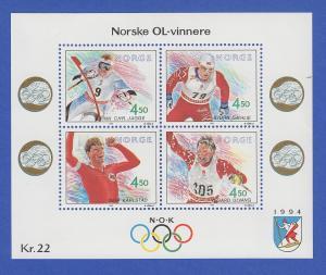 Norwegen 1993 Block 19 **   Olympische Winterspiele 1994 (V).