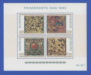 Norwegen 1993 Block 20 **  Norwegische Holzschnitzkunst Akanthus-Ornamente