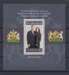 Gibraltar 2016 Mi.-Nr. Block 125  5 Jahre Ehe Prinz William Catherine Middleton