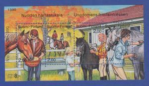 Finnland Blockausgabe 1990 Mi.-Nr. Block 6 ** Jugendhobbys - Reiten