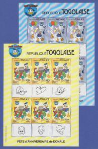 Togo 1984 Walt Disney zwei Kleinbogen ** u.a. Mi.-Nr. 1760