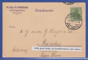 Dt. Reich Germania Mi-Nr. 143 gute b-Farbe als EF auf Karte aus LÜTTRINGSHAUSEN