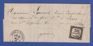 Frankreich Portomarke 30 Centimes Mi.-Nr. 8 auf Brief aus SENS-S-VONNE 1881