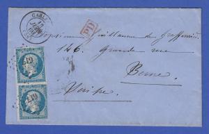 Frankreich Klassik Auslandsbrief nach Bern mit 2x Mi.-Nr. 13, PD-Stempel
