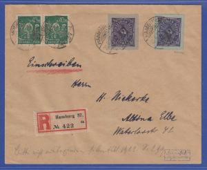 Deutsches Reich Inflation seltene Verwendung von Ganzsachen-Ausschnitten R-Brief