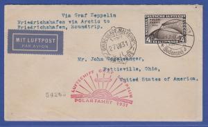 Dt. Reich Polarfahrt 4 RM-Wert Mi.-Nr. 458 auf Polarfahrt-Brief gel. in die USA