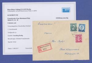 Franz. Zone Rh.-Pfalz Goethe-Satz Mi.-Nr. 46-48 auf R-Brief mit Befund Schlegel