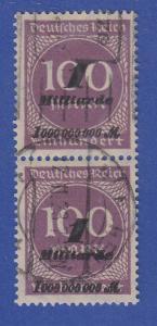 Dt.Reich Inflation 1 Milliarde Mi.-Nr. 331b senkr. Paar sauber gest. gepr. Infla