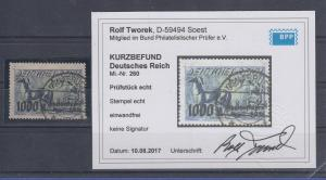 Dt.Reich Inflation Rhein-Ruhrhilfe Mi.-Nr. 260 sauber gest OSNABRÜCK gepr. Infla
