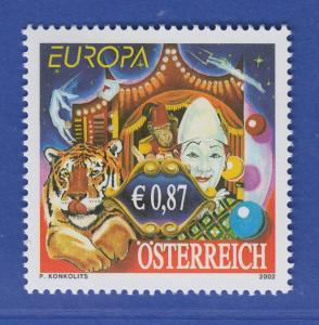 Österreich 2002 Sondermarke Europa Zirkus Weißclown  Mi.-Nr. 2376