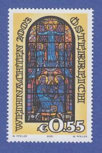 Österreich 2003 Sondermarke Weihnachten Glasfenster Fritz Krcal  Mi.-Nr. 2453