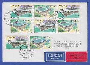 Dänemark-Färöer 1992 Mi.-Nr. 235-36 Seehunde mehrfach aus HBL auf Express-FDC