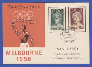Saarland 1956 Olympiade Melbourne Mi.-Nr. 371-372 auf FDC-Karte Fackelträger