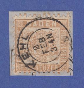 Altdeutschland Baden 9 Kreuzer fahlbraun Mi.-Nr. 20ba gest. auf Briefstück