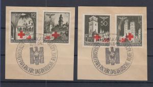 Generalgouvernement Rotes Kreuz Mi.-Nr. 52-55 auf 2 Briefstücken mit Sonder-O