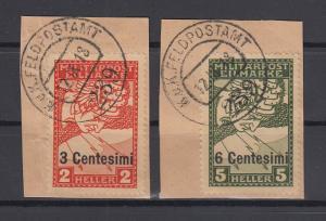 Österreich Feldpost Italien Mi.-Nr. 24-25 kpl. Satz O Briefstücke , geprüft BPP