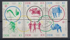 DDR 1964 Olympische Spiele Tokyo Mi.-Nr. 1039-44 6er-Zusammendruck gestempelt