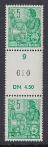 DDR 1955 Rollenmarken-Versuchsausgabe 5Pfg Mi-Nr. 577B Paar mit Zwischensteg **