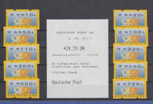 ATM Deutschland gelbe Posthörner Sielaff Mi.-Nr. 3.3 Satz  TS2 kpl. 10-720 **