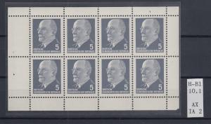 DDR Walter Ulbricht 5 Pfg-Wert Heftchenblatt Mi.-Nr. 10.1 AX IA 2  **