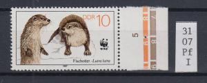 DDR 1987 Fischotter Mi.-Nr. 3107 mit Plattenfehler Fußspur unterbrochen **
