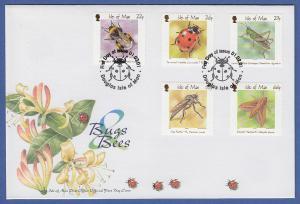 Isle of Man Ersttagsbrief / FDC 2001 Mi.-Nr. 906-10 Insekten