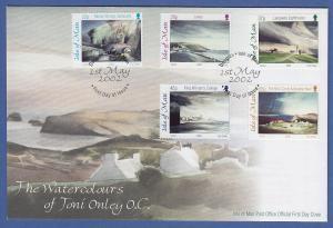 Isle of Man Ersttagsbrief / FDC 2002 Mi.-Nr. 973-77 Aquarelle