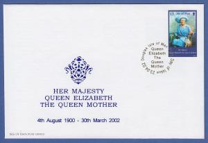 Isle of Man Ersttagsbrief / FDC 2002 Mi.-Nr. 966 Tod von Königinmutter Elisabeth