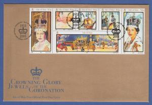 Isle of Man Ersttagsbrief / FDC 2003 Mi.-Nr. 1045-50 Krönung Königin Elisabeth