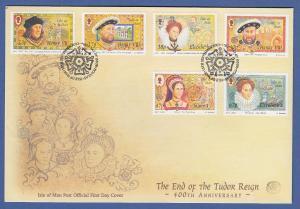 Isle of Man Ersttagsbrief / FDC 2003 Mi.-Nr. 1068-73 Ende der Tudor-Dynastie