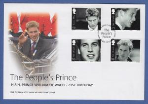 Isle of Man Ersttagsbrief / FDC 2003 Mi.-Nr. 1058-61 Geburtstag Prinz William